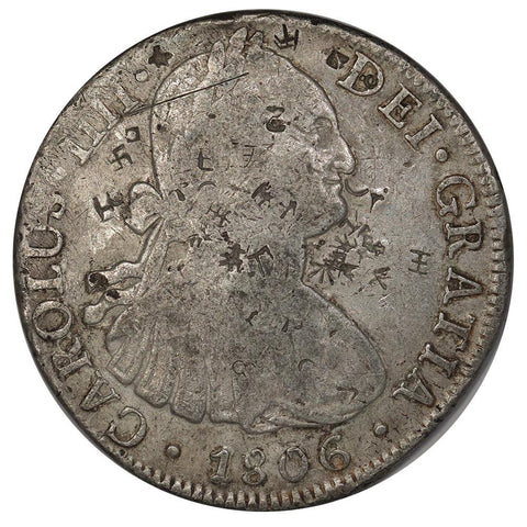 1806-TH Mexico Silver 8 Reales KM.109 - Fine (Heavily Chopmarked)