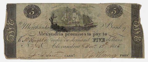 1815 $5 Merchant's Bank of Alexandria, D.C. (Scarce) ~ Very Good