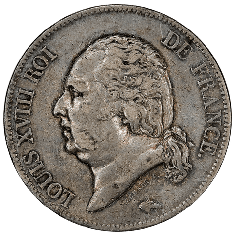 1816-A France Louis XVIII Silver 5 Francs KM.711.1 - Very Fine+