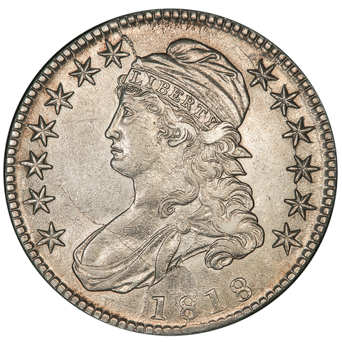 1818 Capped Bust Half Dollar - Overton 104b (R5+) - About Uncirculated