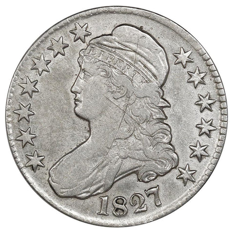 1827 Square Base 2 Capped Bust Half Dollar - Overton 128 (R4-) - VF/XF Details