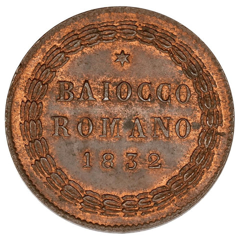 1832-IR Italy, Papal States Baiocco KM.1314 - Red & Brown AU/Unc