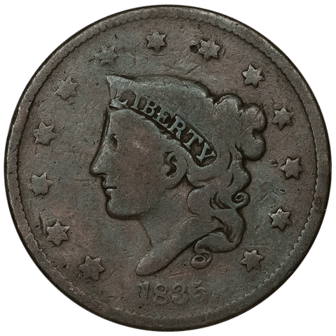 1835 Coronet Head Large Cent ~ Very Good