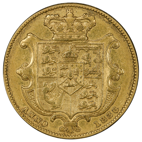 Scarce 1836 Great Britain Gold Sovereign KM.717 - Extremely Fine