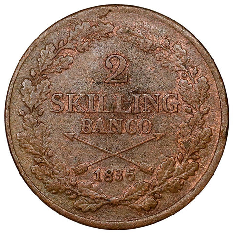 1836 Sweden 2 Skilling KM.643 - Extremely Fine (Trace Red)