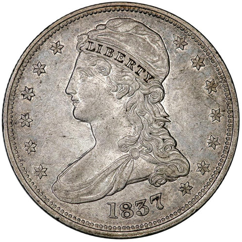 1837 Reeded Edge Capped Bust Half Dollar - XF/AU