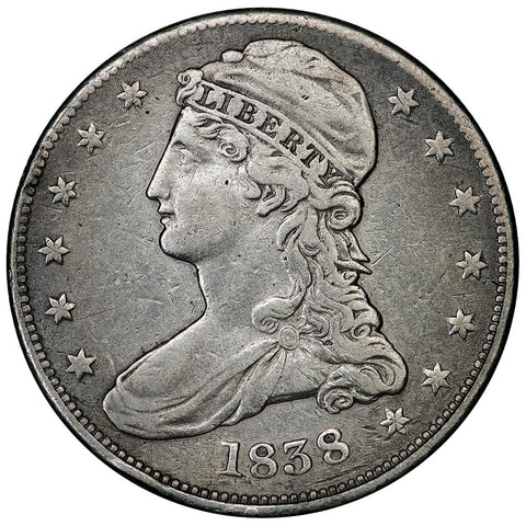 1838 Reeded Edge Capped Bust Half Dollar - Very Fine