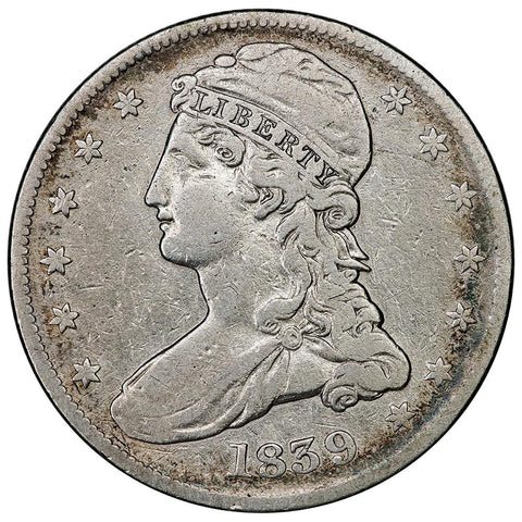 1839 Reeded Edge Capped Bust Half Dollar - Fine Details