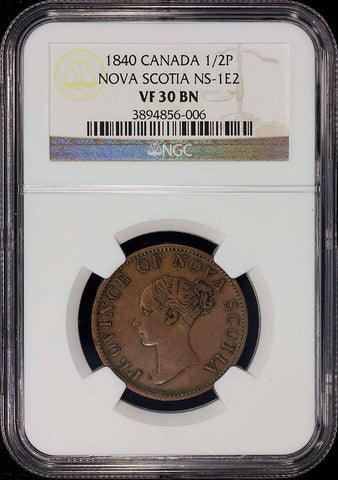 Nova Scotia - 1840 Half Penny Token NS-1E2 Medium 0 - NGC VF 30 BN