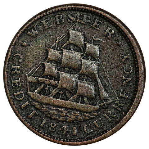1841 Daniel Webster Hard Times Token HT-22 - Very Fine