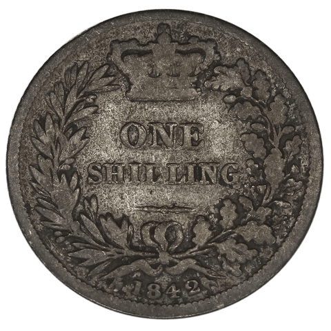 1842 Great Britain Silver Shilling - Very Good