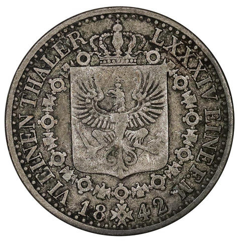 1842-A German States, Prussia Silver 1/6 Thaler KM.436.1 - Very Fine