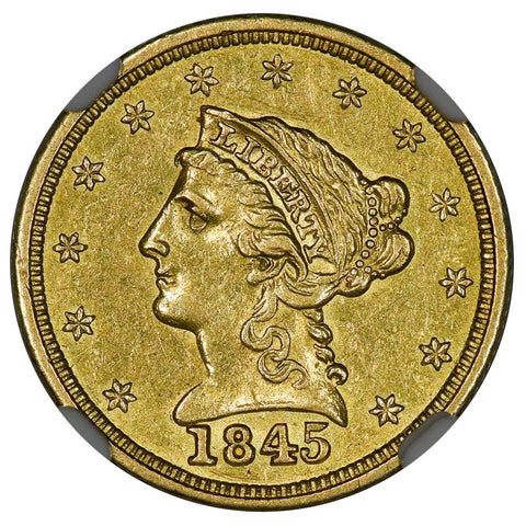 1845 $2.5 Liberty Quarter Eagle Gold Coin - NGC AU 58