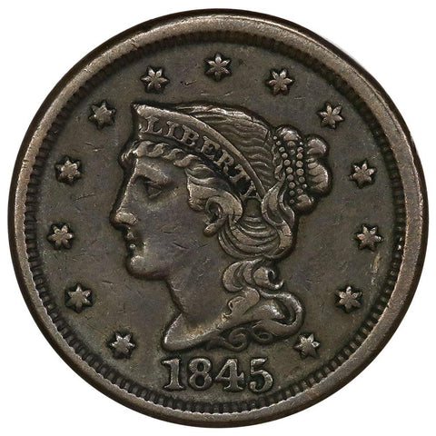 1845 Braided Hair Large Cent - Very Fine