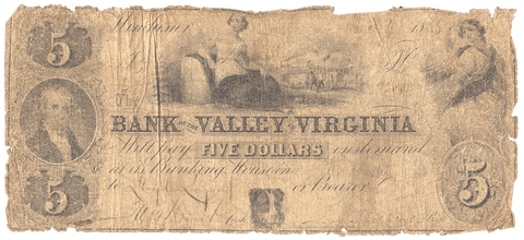 1846 $5 Bank of the Valley of Virginia, Winchester (Winchester Branch) VA255-G16a - About Good
