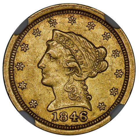 1846-O $2.5 Liberty Quarter Eagle Gold Coin - NGC AU 55