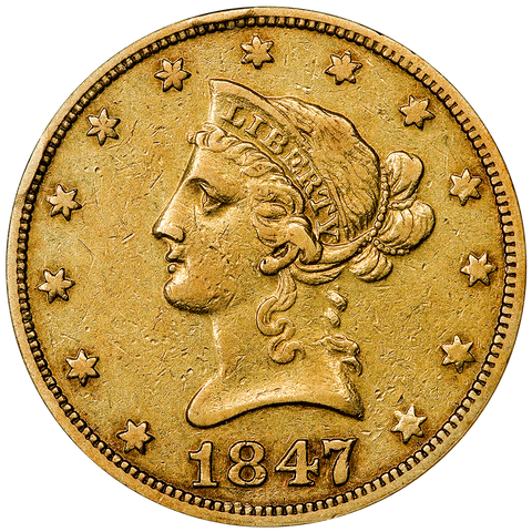 1847-O $10 Liberty Gold Eagle, No Motto, ANACS XF 45