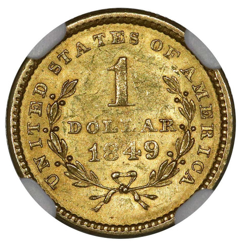 1849 Open Wreath Gold Dollar - NGC MS 62 - Brilliant Uncirculated