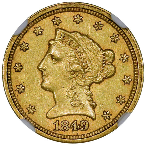 1849-C $2.5 Liberty Gold Coin - NGC AU 58 - Choice AU Charlotte Gold