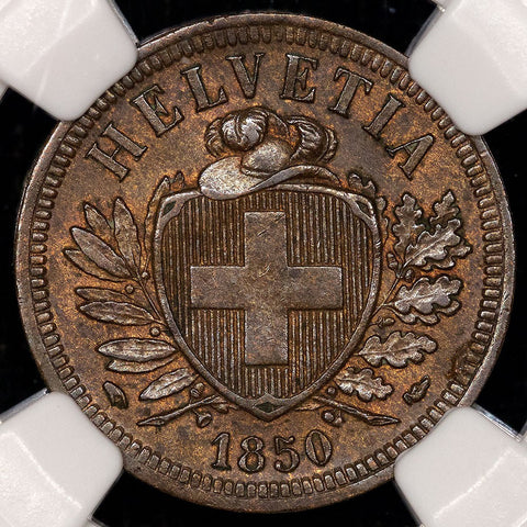 1850-A Switzerland Bronze 2 Rappen KM.4.1 - NGC MS 62 BN