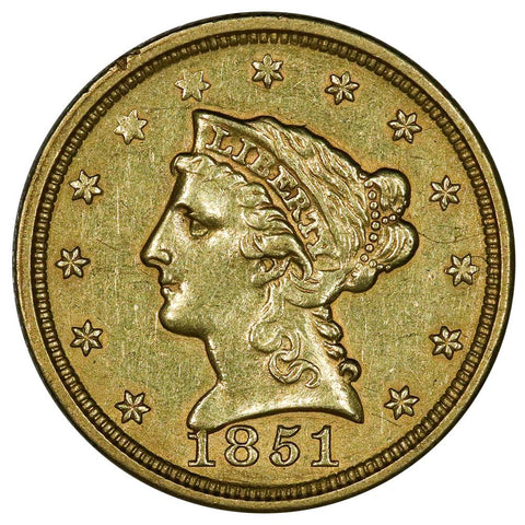 1851 $2.5 Liberty Gold Coin - About Uncirculated