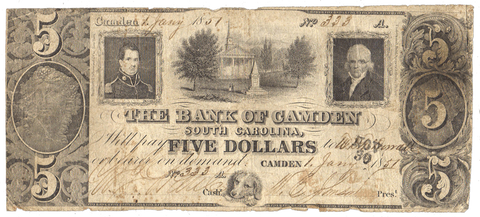 1851 Bank of Camden South Carolina $5 SC-5-G4 ~ Very Good/Fine