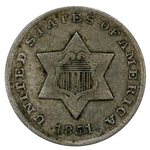 1851-O Three Cent Silver (Trime) - Very Fine+