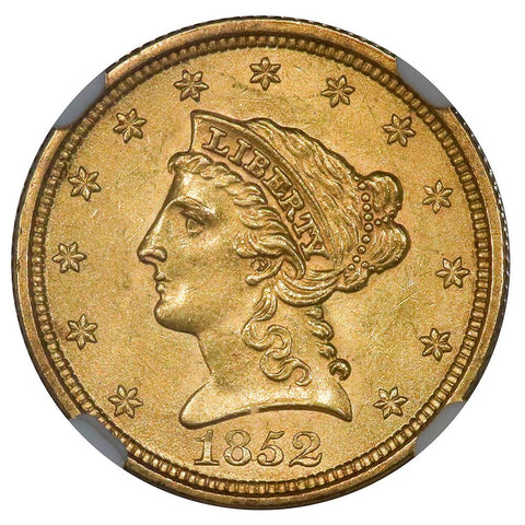 1852 $2.5 Liberty Gold Coin - NGC MS 62 PQ Brilliant Uncirculated