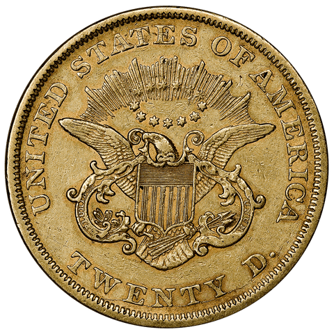 1852 Type 1 $20 Liberty Double Eagle Gold Coin - Extremely Fine+