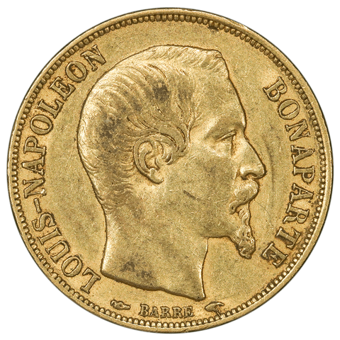 1852-A French Napoleon 20 Franc Gold Coin KM.774 - VF/XF