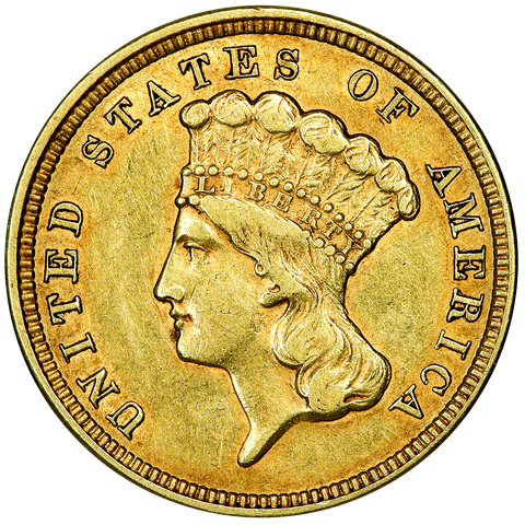 1854 $3 Princess Gold Coin - About Uncirculated
