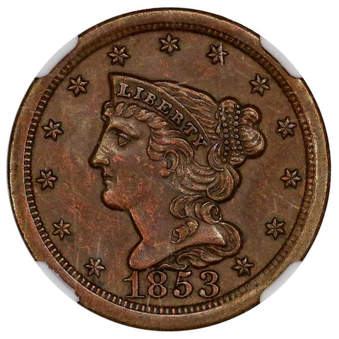 1853 Braided Hair Half Cent C-1 - NGC AU 58 - Choice About Uncirculated