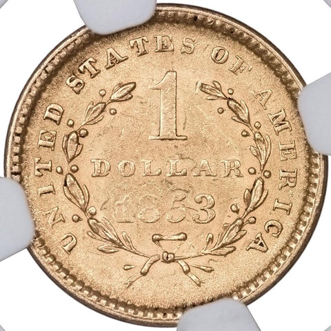 1853 Type-1 Gold Dollar - NGC MS 62 - PQ Brilliant Uncirculated