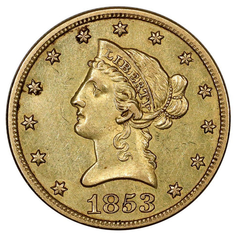 1853-O $10 Liberty Gold Eagle, No Motto - About Uncirculated