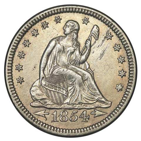 1854 Arrows Seated Liberty Quarter - About Uncirculated+