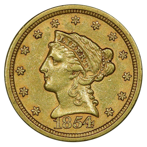 1854 $2.5 Liberty Gold Coin - Extremely Fine+