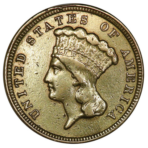 1854 $3 Princess Gold Coin - Very Fine Detail Ex-Jewelry