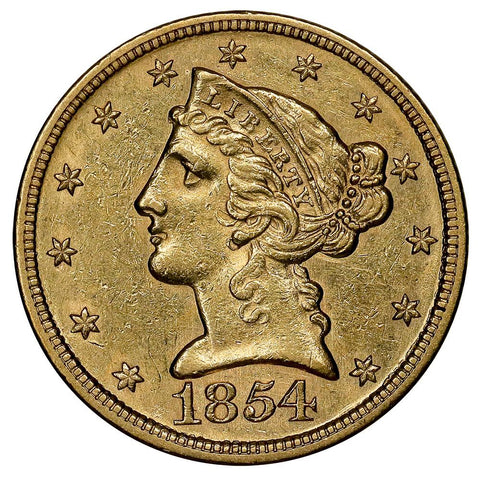 1854 No-Motto $5 Liberty Head Gold - Choice About Uncirculated