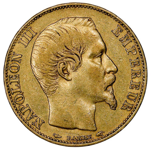 1854-A French Napoleon 20 Franc Gold Coin KM.781.1 - Extremely Fine