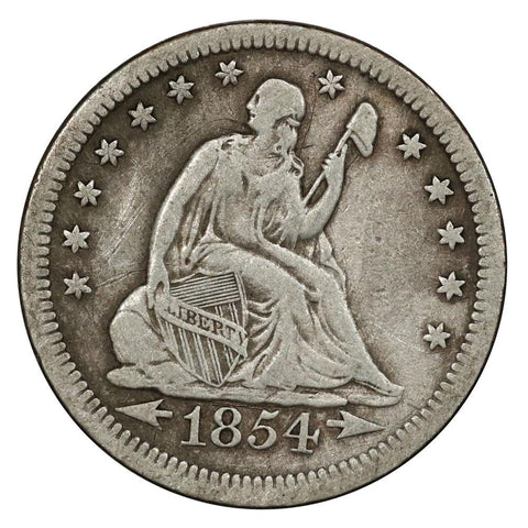 1854 Arrows Seated Liberty Quarter - Fine