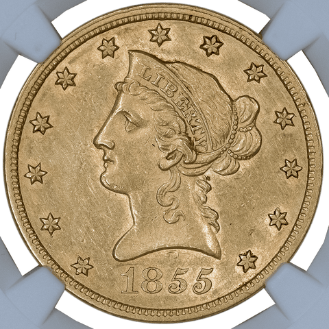 1855 $10 Liberty Gold Eagle, No Motto, NGC AU Details