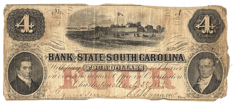 1855 $4 Bank of the State of South Carolina Charleston, SC-45-G42b ~ Very Good