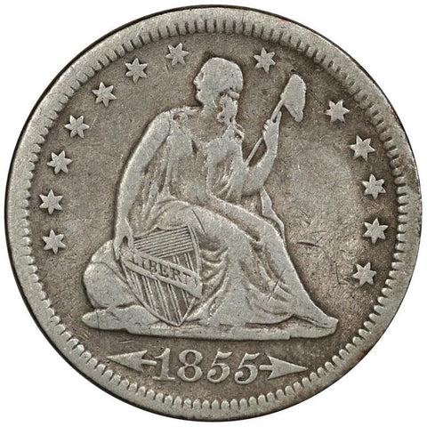 1855 Arrows Seated Liberty Quarter - Very Fine