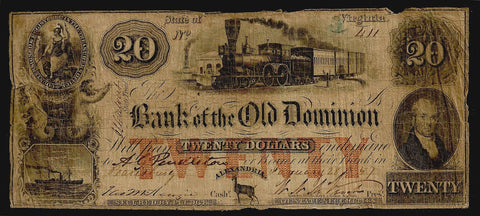 1857 $20 Bank of the Old Dominion Alexandria, VA (Scarce) ~ Very Good/Fine