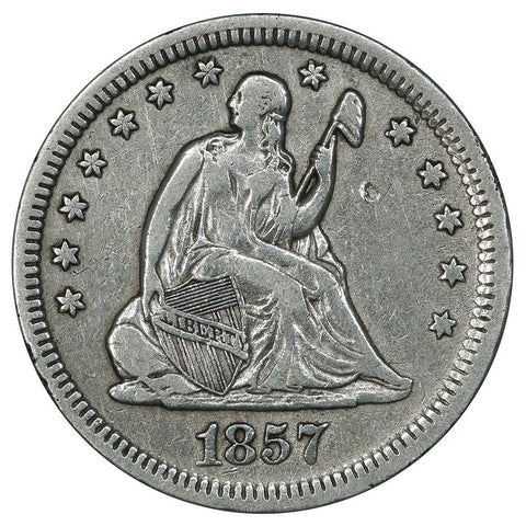 1857 Seated Liberty Quarter - Very Fine (cleaned)