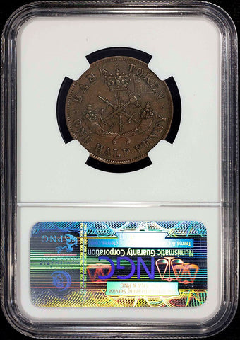 1857 Bank of Upper Canada Half Penny Token PC-5D Medium 0 - NGC AU 55 BN