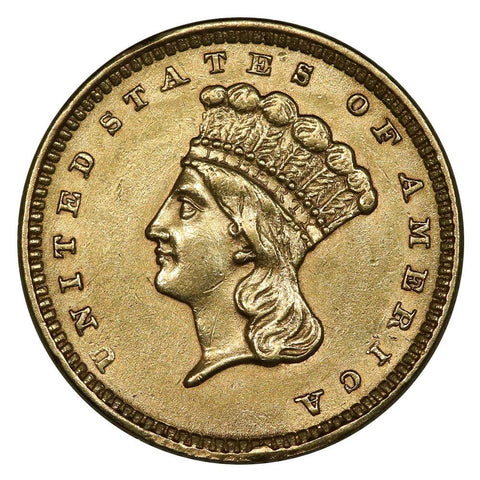 1857 Type-3 Gold Dollar - About Uncirculated