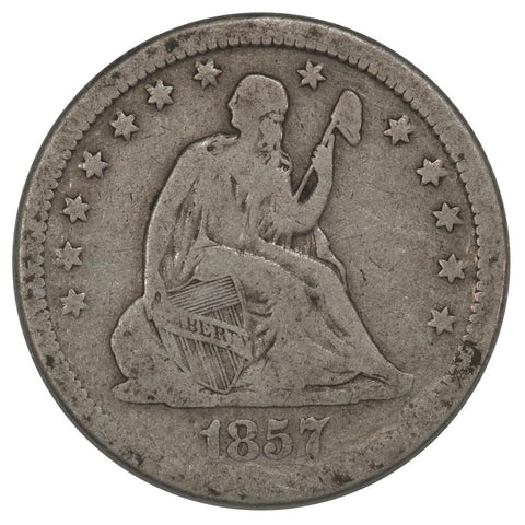 1857 Seated Liberty Quarter - Good
