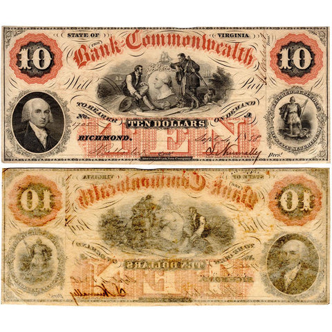 1858 $10 Bank of the Commonwealth, Virginia Obsolete Bank - XF/AU