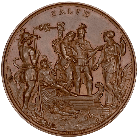1858 Great Britain Victoria & Albert Marriage Commemoration Bronze Medal 53mm - AU/Unc